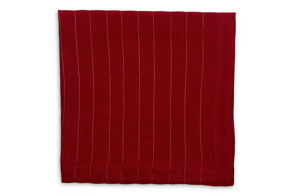 Gold Stitched Pleated Napkin - Holiday Red