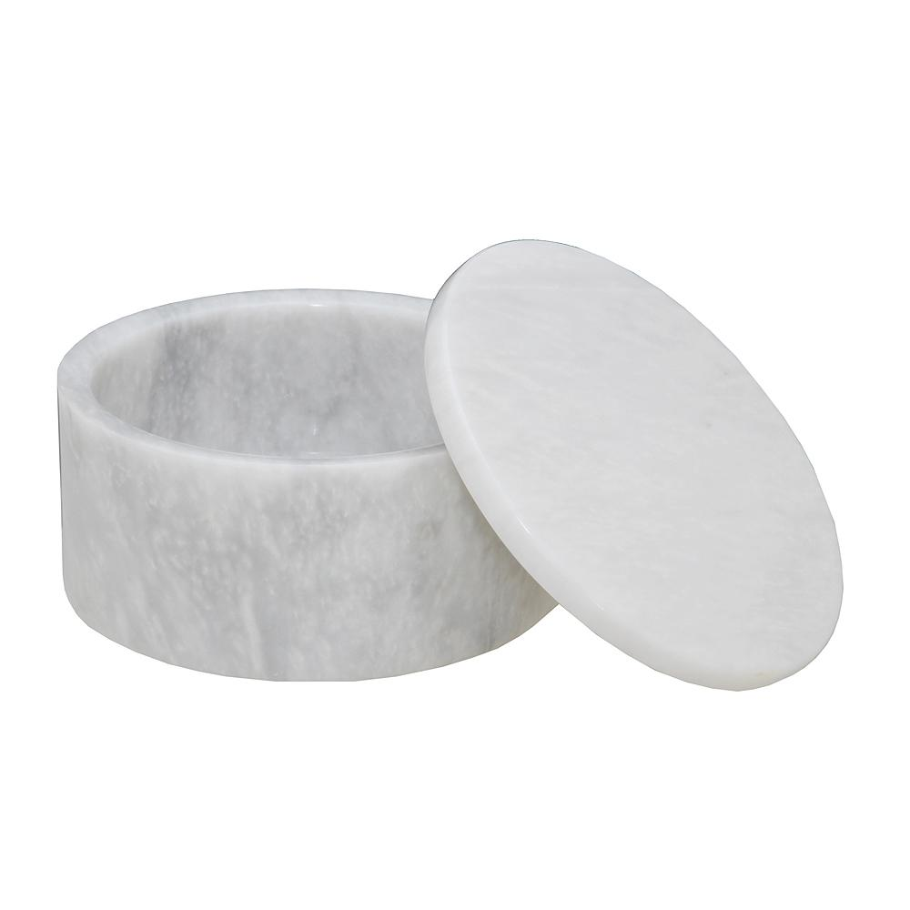 Marble Crafter Eirenne Pearl White Marble Circular Keepsake Box