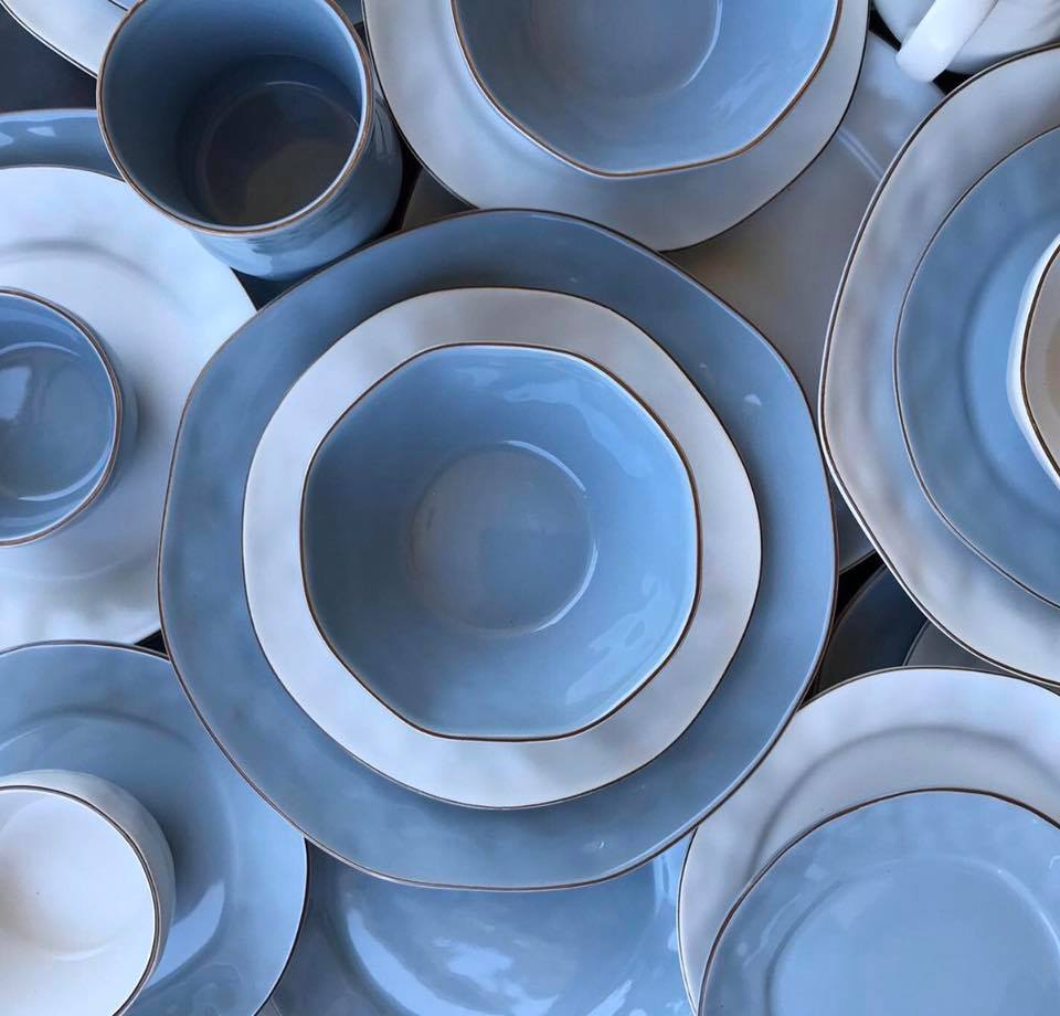 Skyros Designs Cantaria Dinnerware, Matte White and Morning Sky
