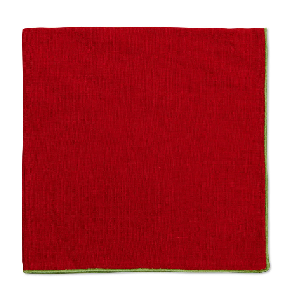 Holiday Red with Green Contrast Edge Napkin