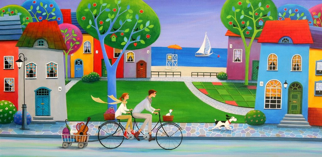 Iwona Lifsches Afternoon Ride Wooden Jigsaw Puzzle