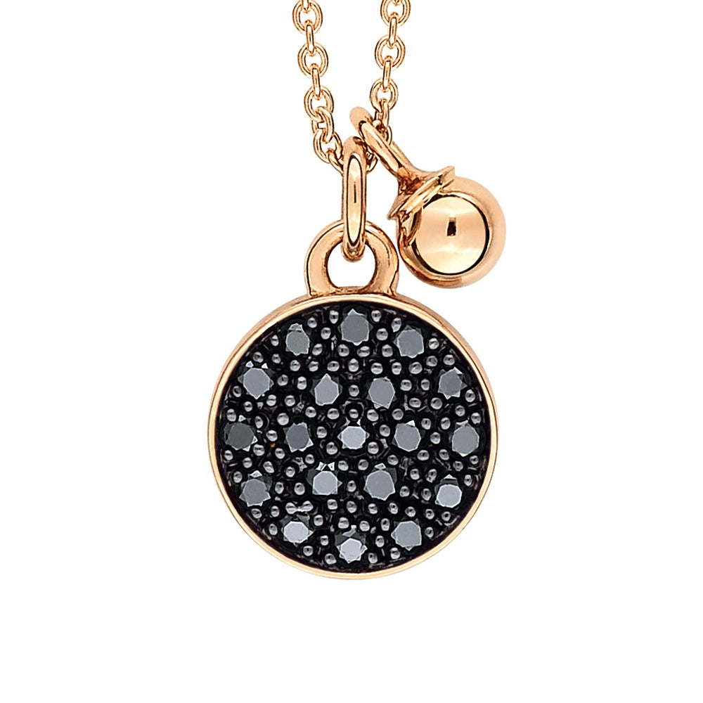 18K Rose Gold and Black Diamond Mini Ever Disc on Chain Necklace