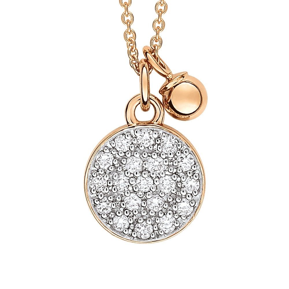 18K Rose Gold and Diamond Mini Ever Disc on Chain Necklace