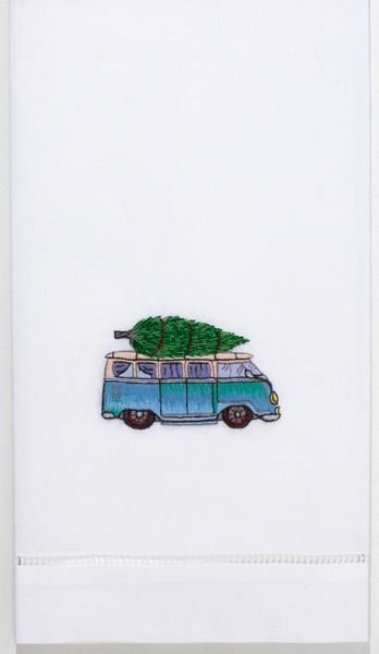 VW Bus and Tree Cotton Hand Towel
