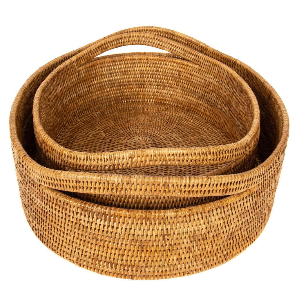 Artifacts Trading Company Rattan Oval Basket with Cutout Handles