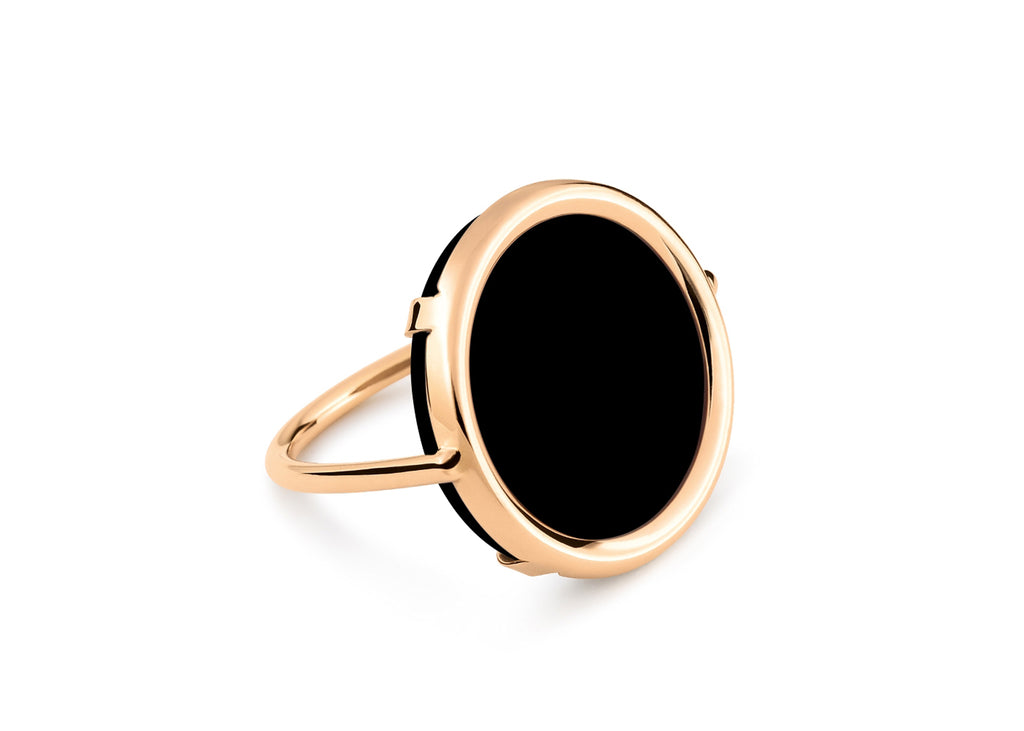 Black Onyx Disc Ring - Size 6.5