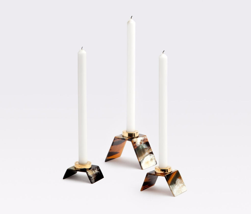 Blue Pheasant Callum Horn Candle Holders