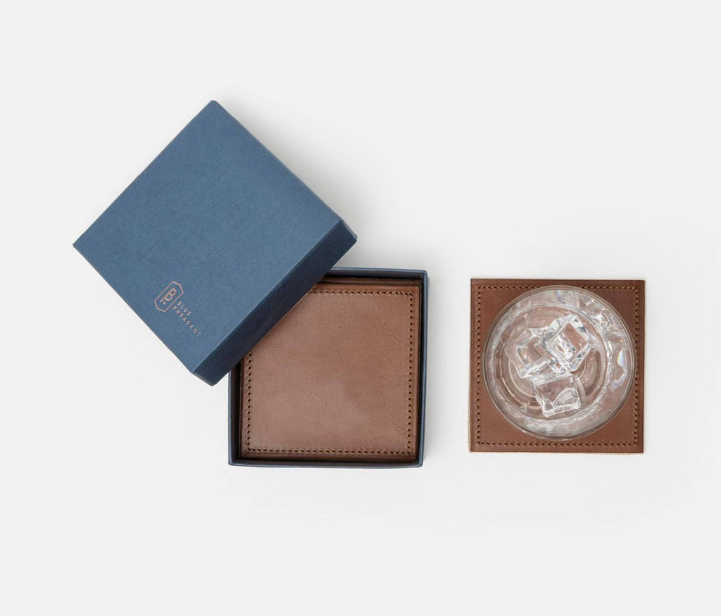 Blue Pheasant Evan Leather Coaster Set in Tobacco