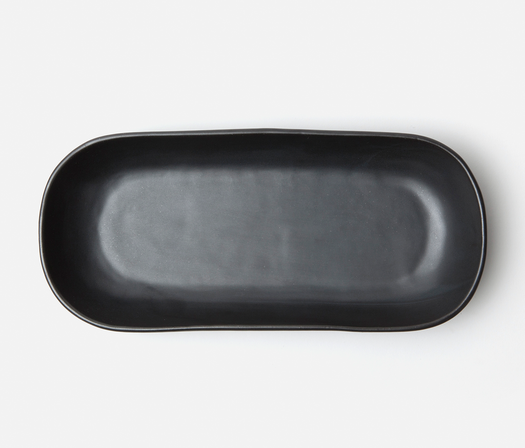 Marcus Black Glaze Oblong Shallow Bowls Set