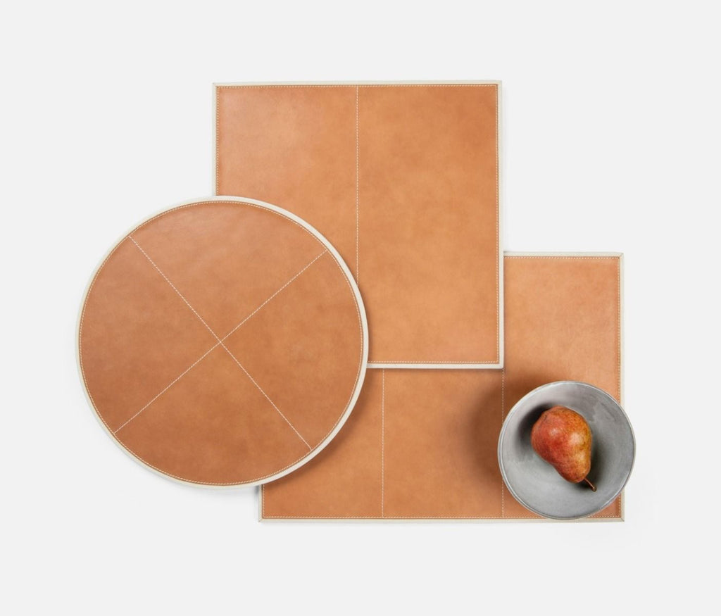 Graham Leather Placemat in Camel/Light Gray