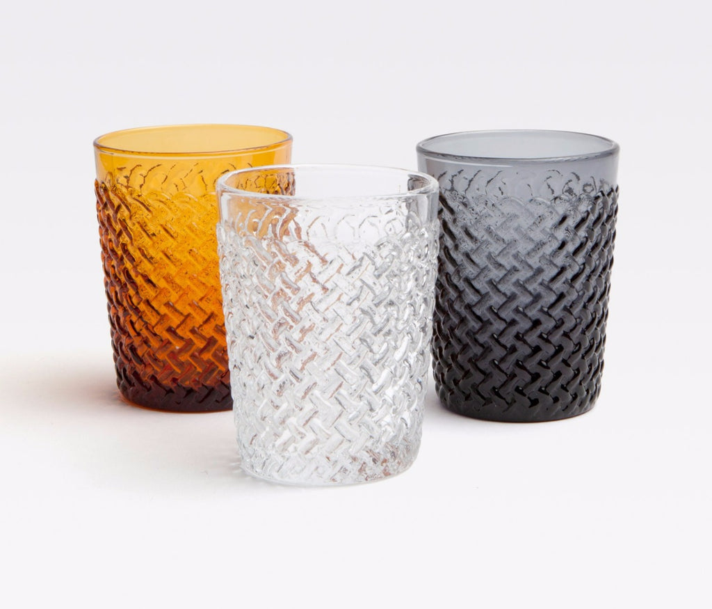 Blue Pheasant Grayson Tumbler in amber, clear, and smoke grey
