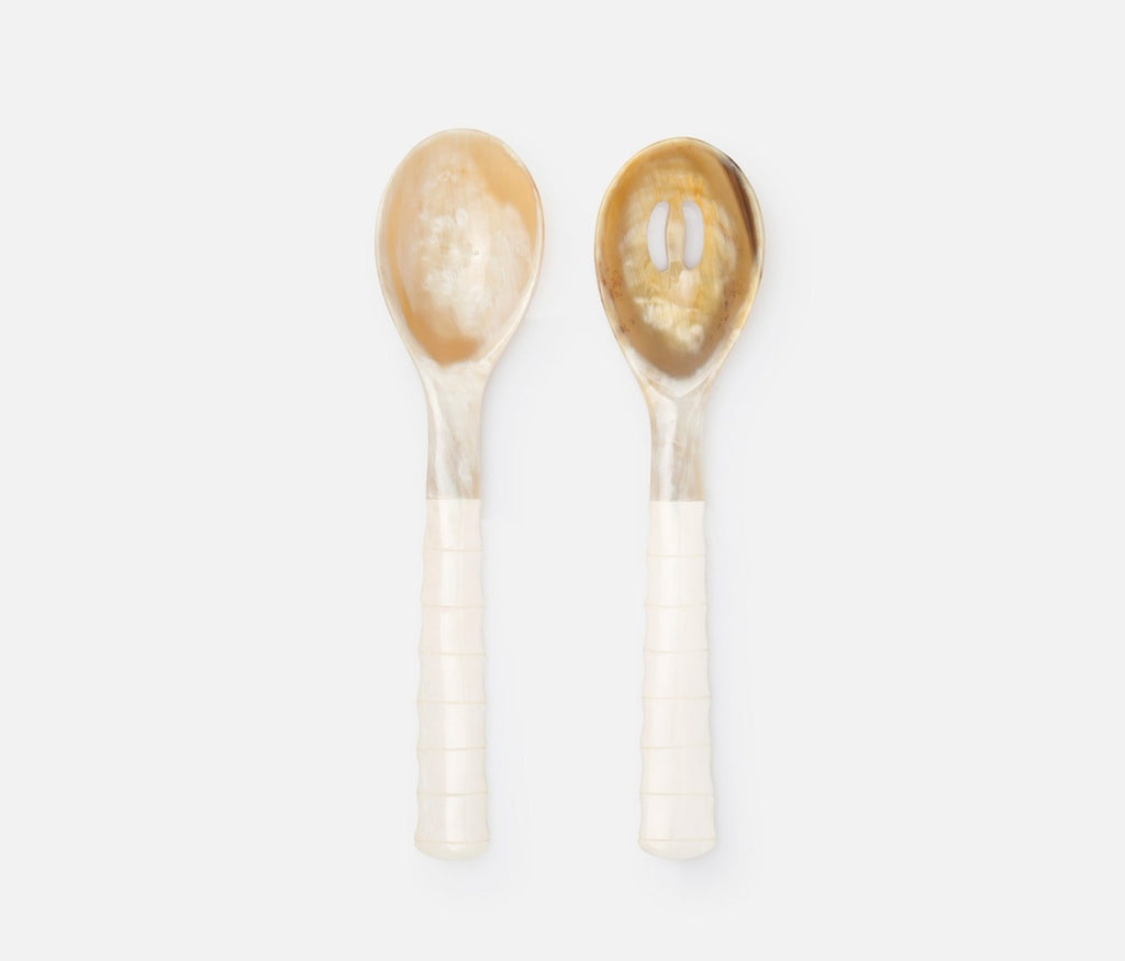 Halette Horn Natural 2-Piece Serving Spoon Set, from Blue Pheasant.