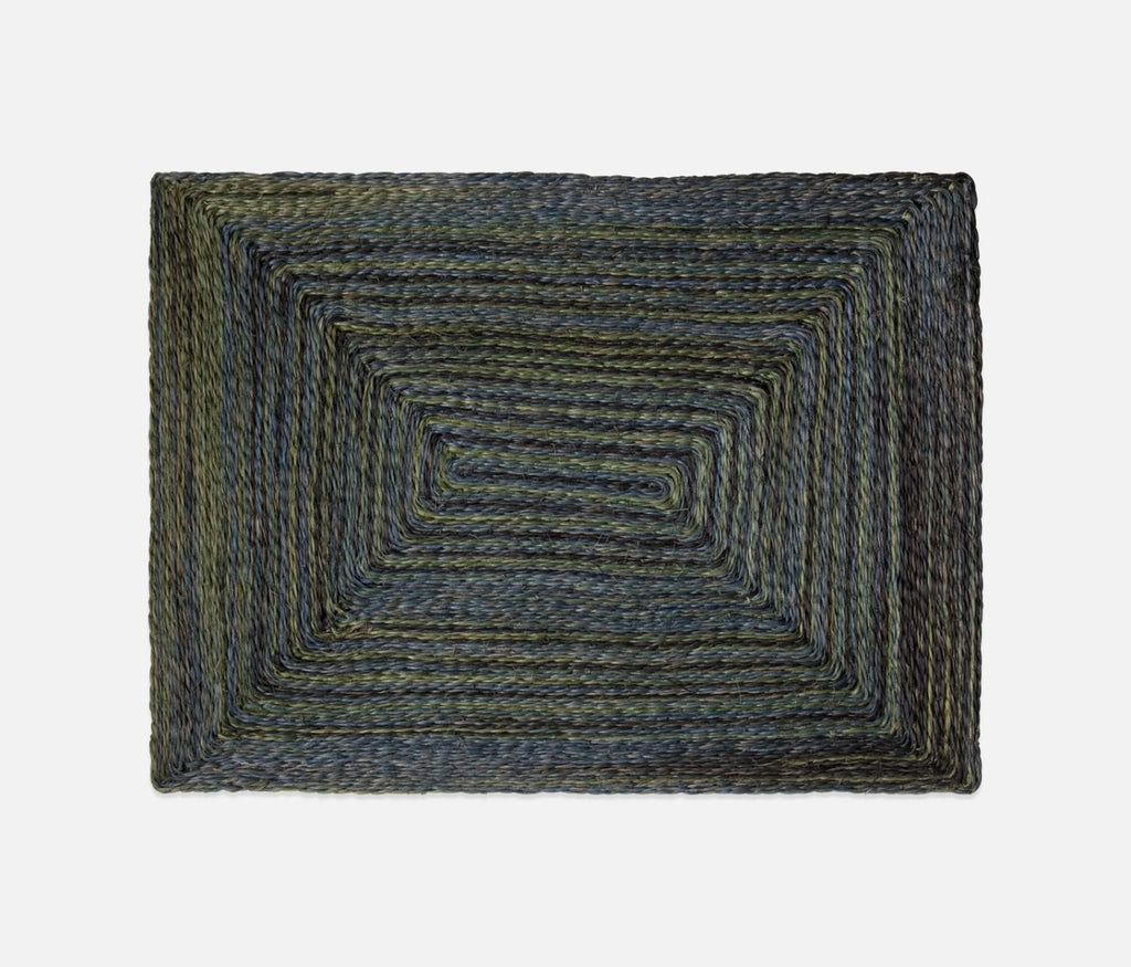 Blue Pheasant Abaca Maddox Rectangle Placemat in Green/Blue