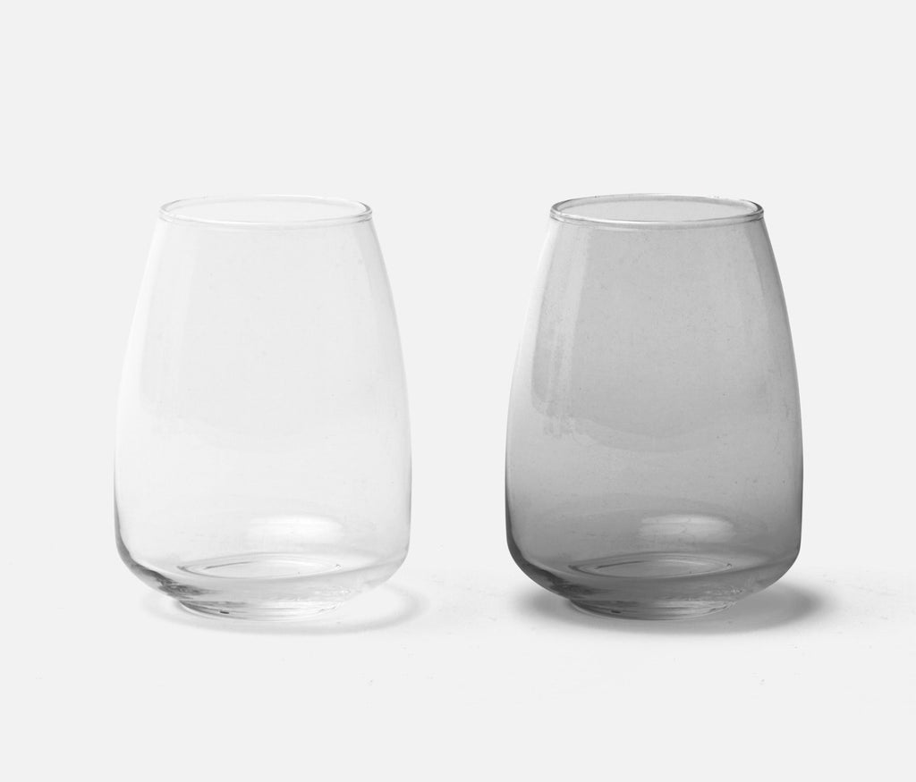 Mia Handblown Glass Tumblers, in Clear and Smoke, from Blue Pheasant