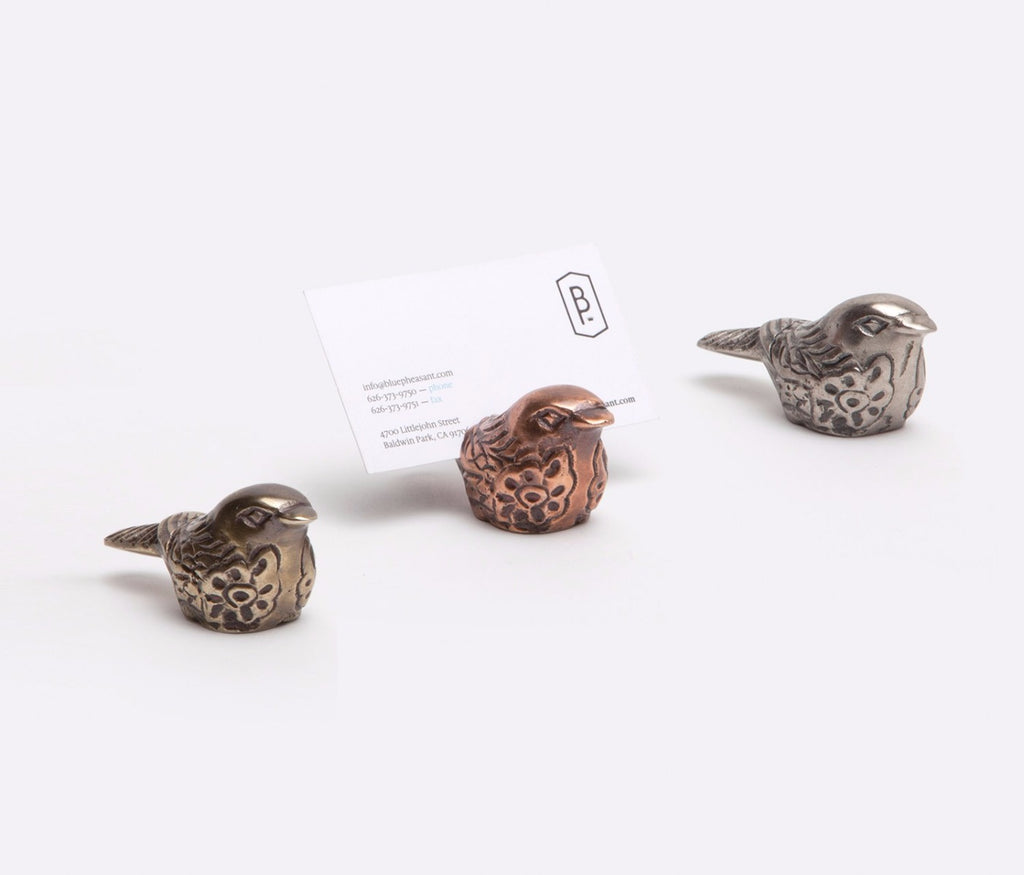 Blue Pheasant Robin Plump Bird Place Card Holder - Set of Four