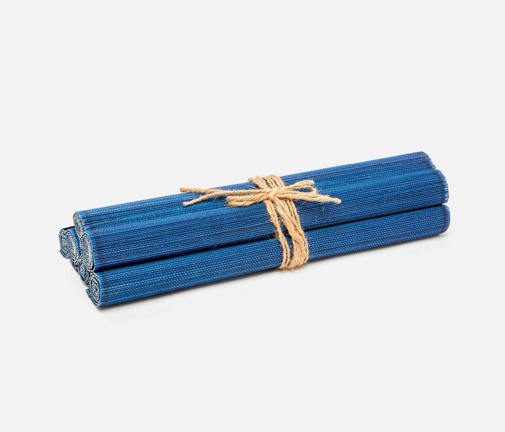 Blue Pheasant Varden set of 6 Bamboo Placemats in Mixed Navy