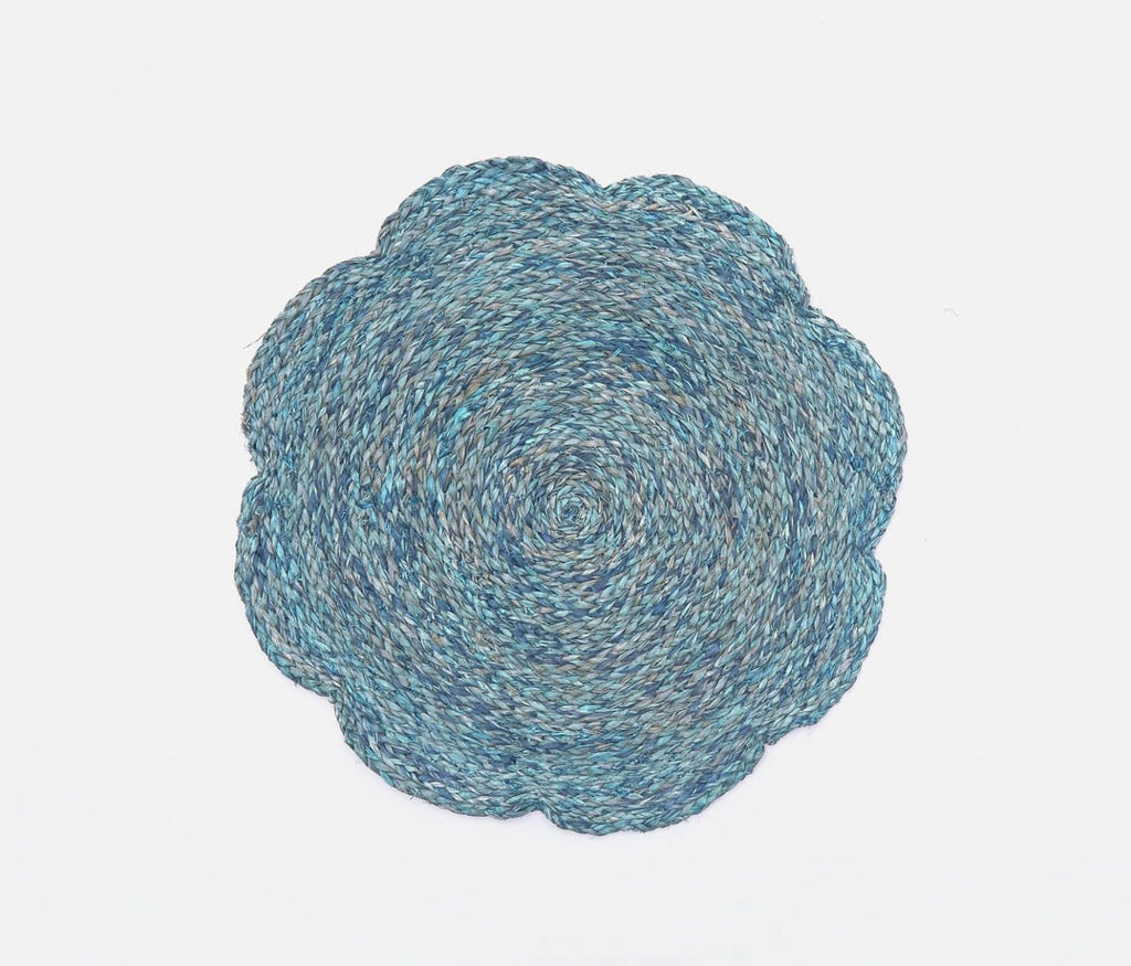 Blue Pheasant Set of 4 Mixed Blue Raffia Flower Placemats
