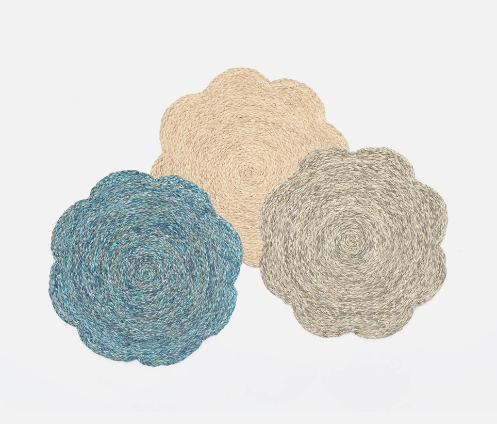 Blue Pheasant Set of 4 Mixed Gray Raffia Flower Placemats
