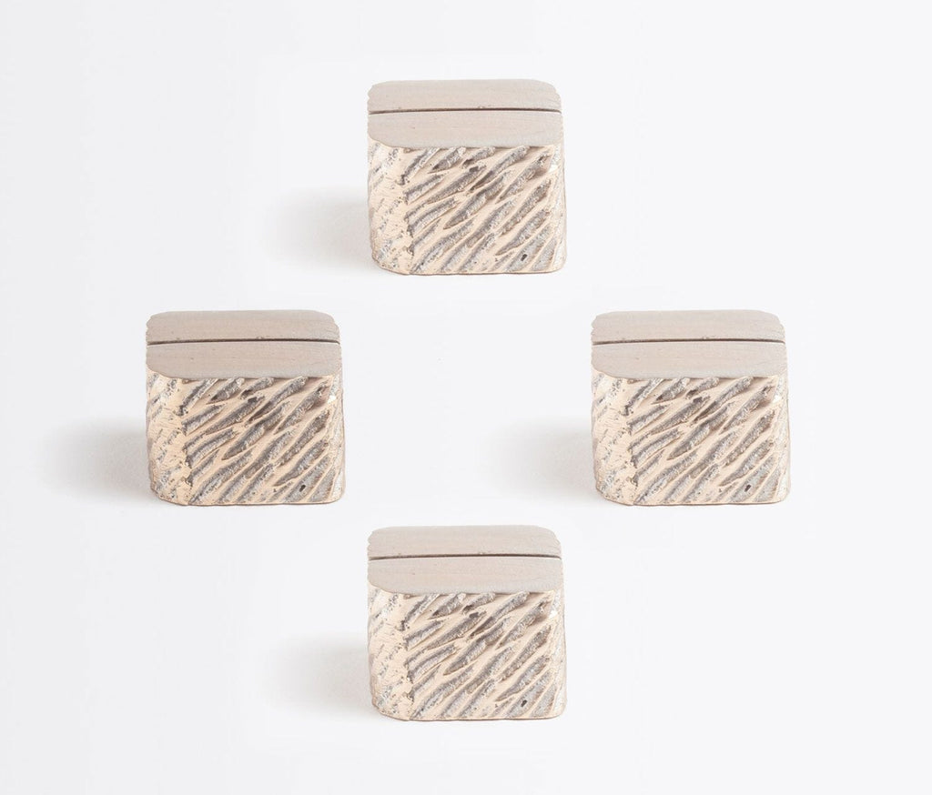 Blue Pheasant Zachary Textured Cube Place Card Holder - Set of Four