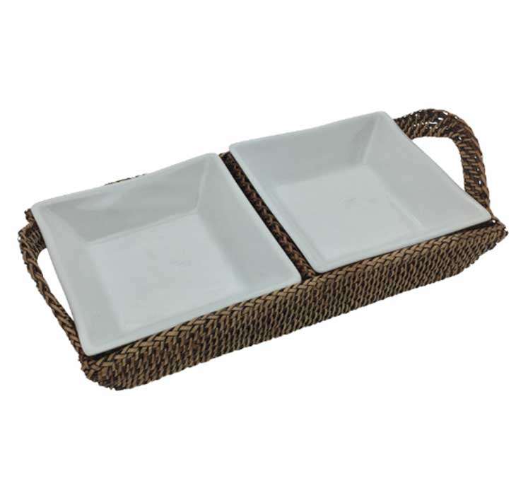 Rectangular Tray with Pillivuyt Dishes