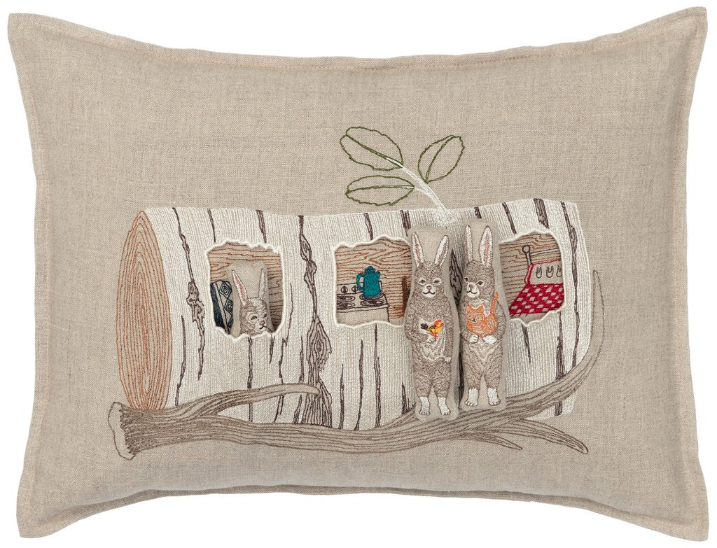 Coral and Tusk Aspen Log Bunnies Pocket Pillow