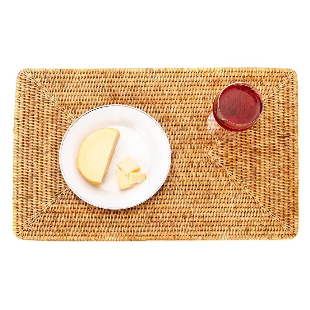 Artifacts Trading Company Rattan Rectangular Placemat - Honey Brown