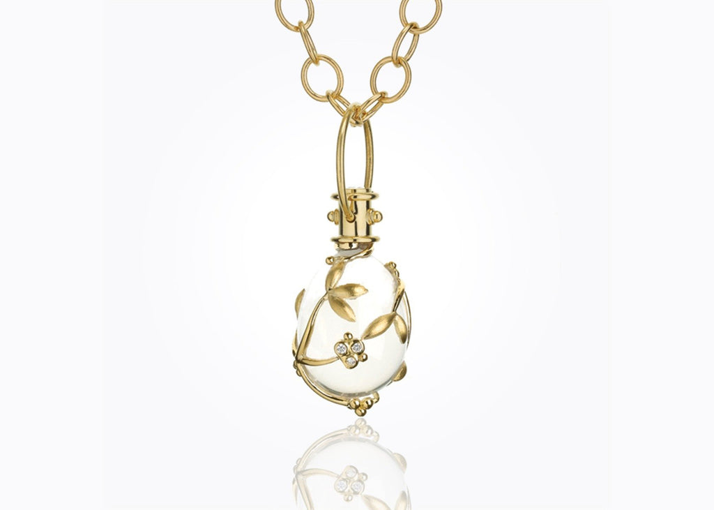 18K Gold Vine Amulet with Oval Rock Crystal and Diamonds