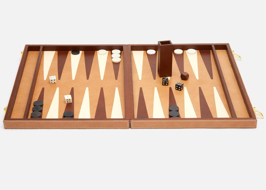 Grantham Backgammon Set - Beige Hair-on-Hide and Aged Camel Full-Grain Leather