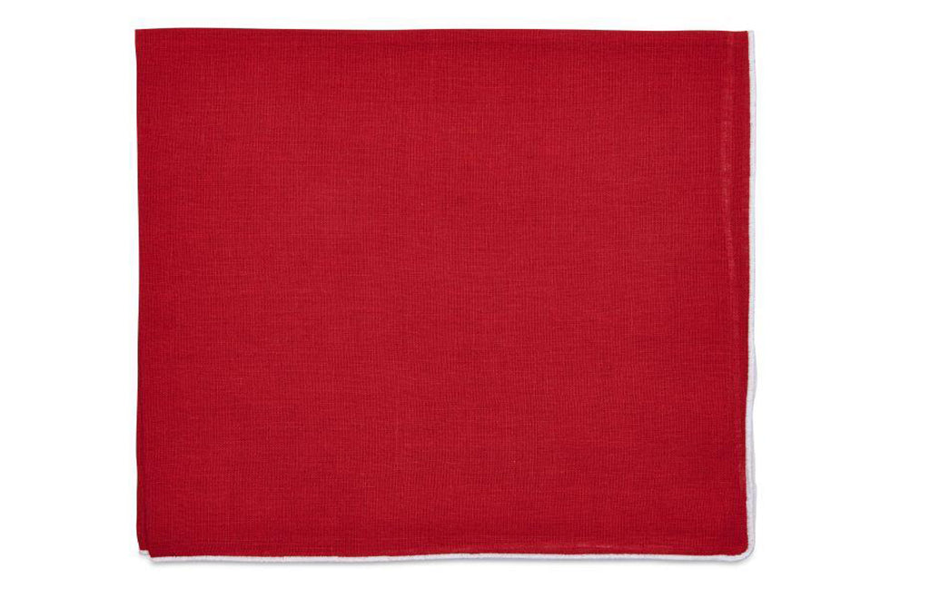 White Contrast Edge Napkin - Holiday Red