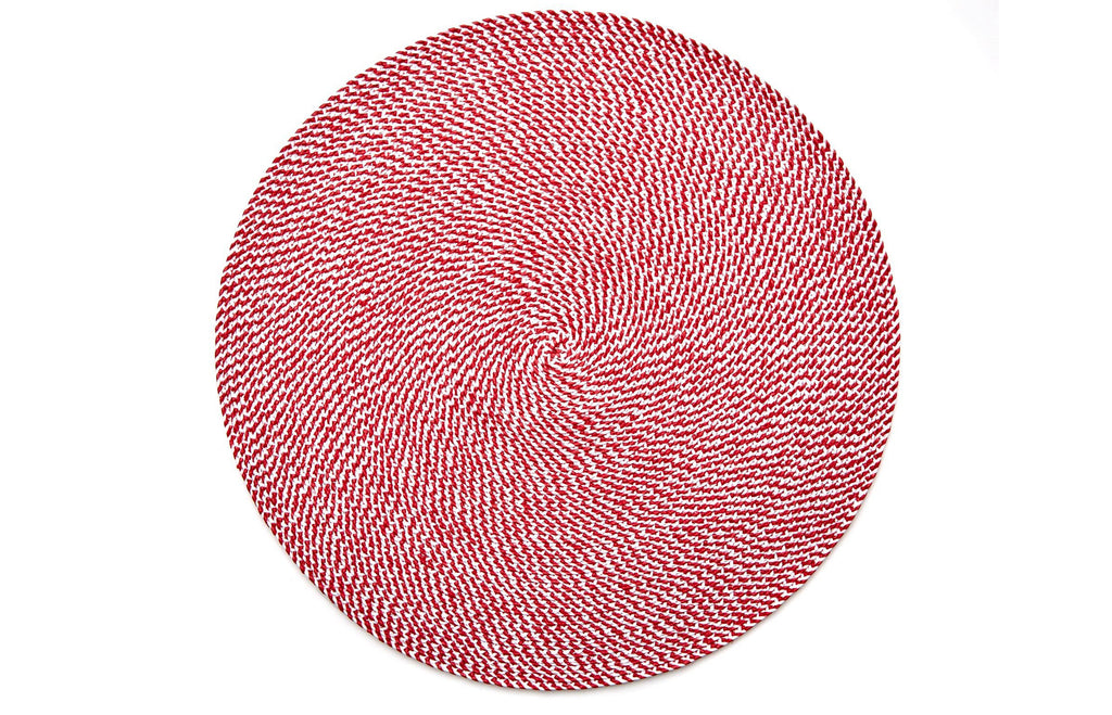 Basketweave Placemat - Holiday Red/White