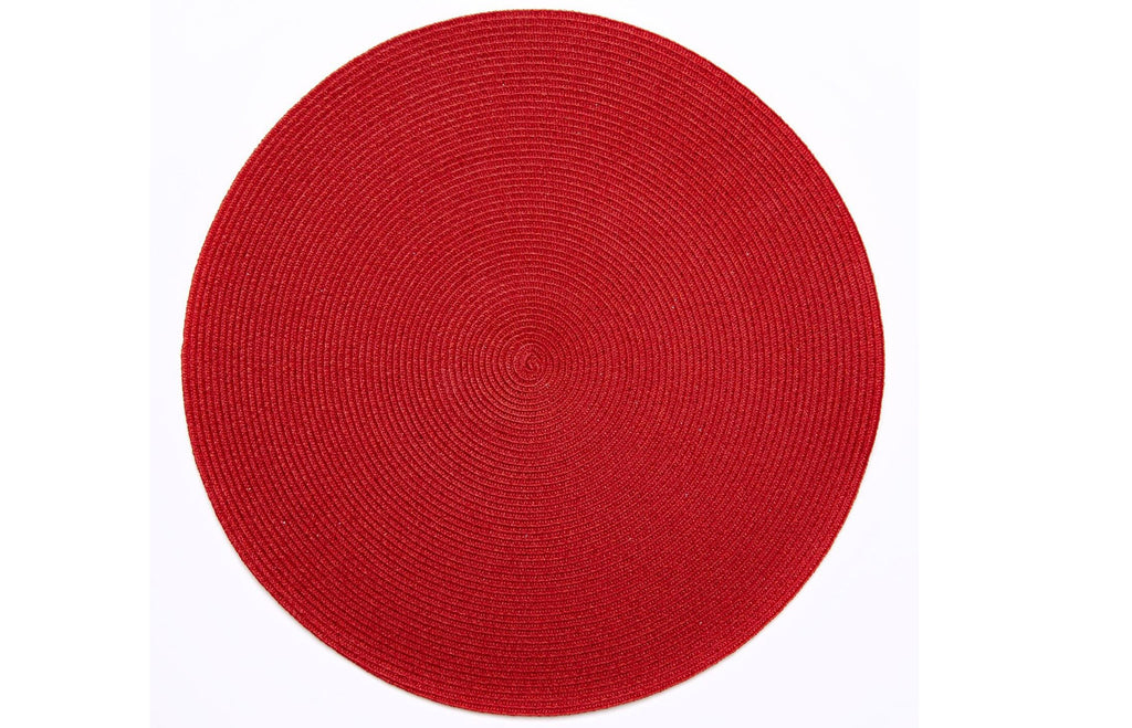 Linen Lurex Braid Placemat - Holiday Red