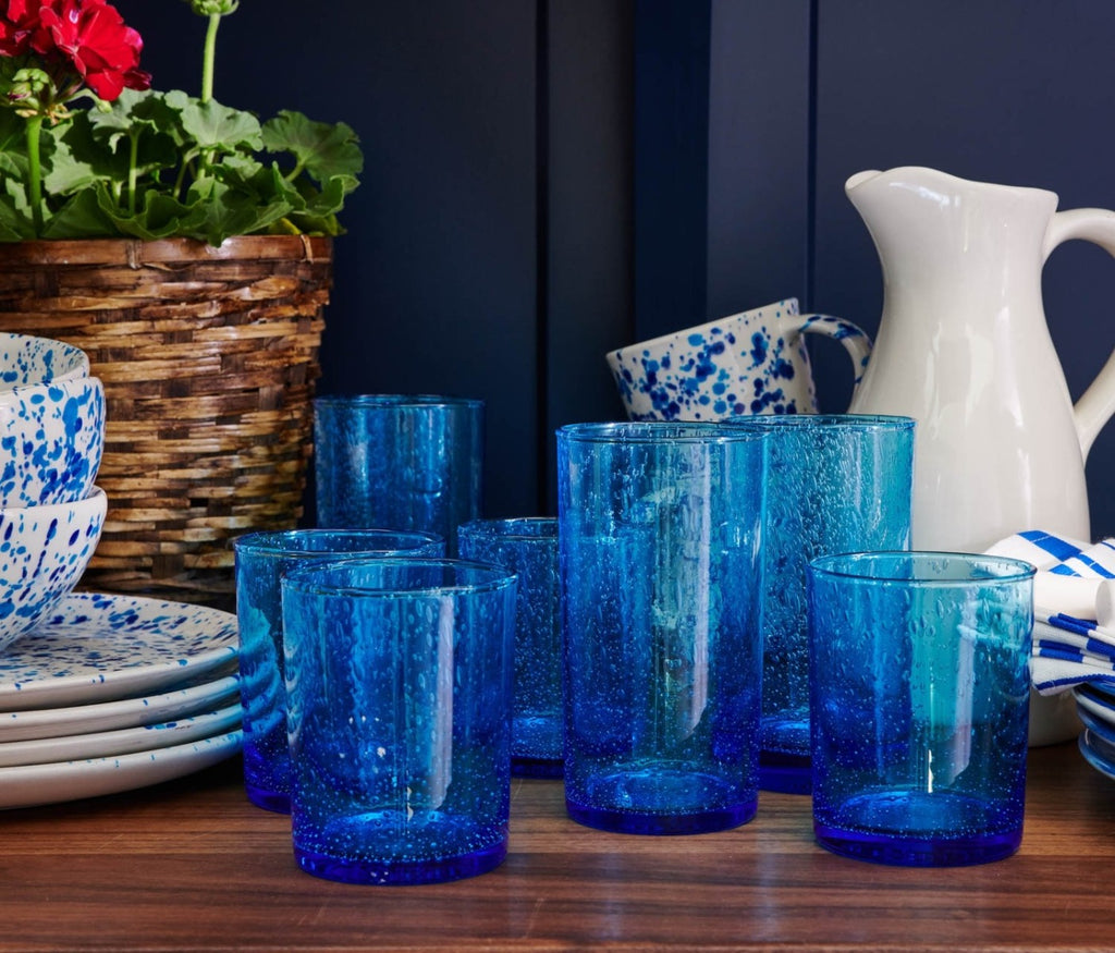 Blue Pheasant Azul Handblown Glass and Rattan Collection by Mark D. Sikes