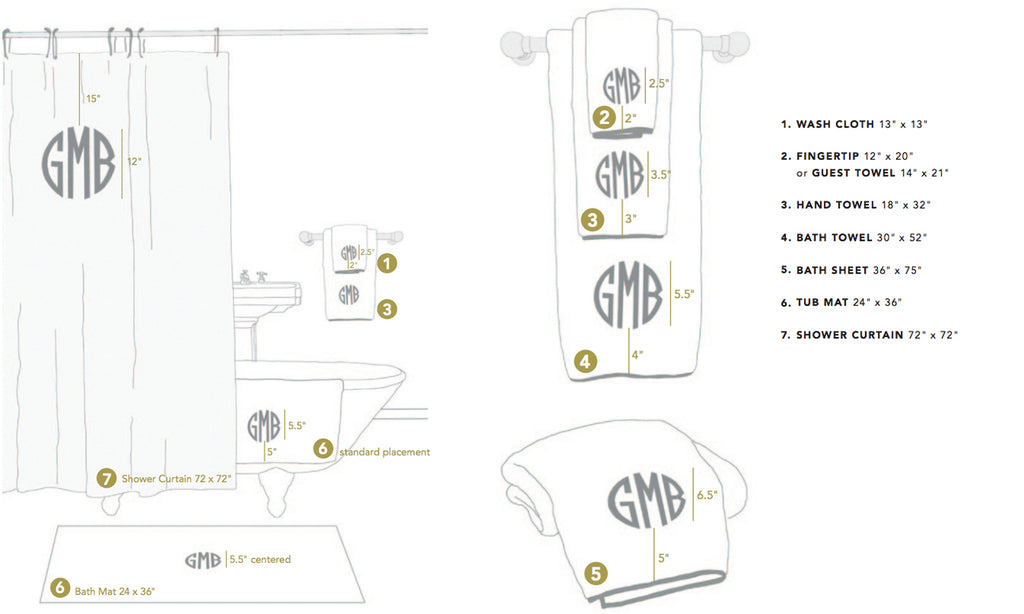 Matouk Cairo Bath Towel Sizes and Monogram Placement