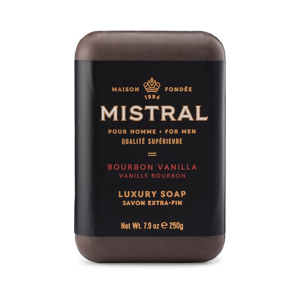 Mistral Bourbon Vanilla Men's French Triple Milled Exfoliating Soap
