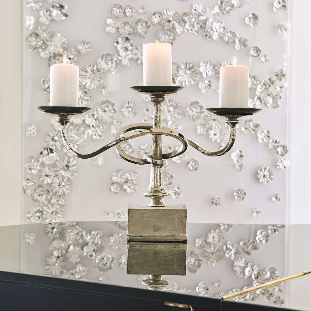 Jan Barboglio Pirueta Candelabra in Nickel