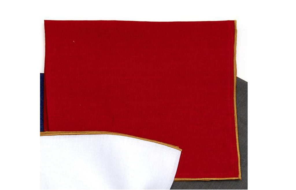 Gold Contrast Edge Napkin - Holiday Red