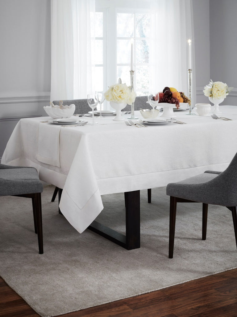 Sferra Reece Linen Tablecloth with Metallic Threads in Gold or Silver