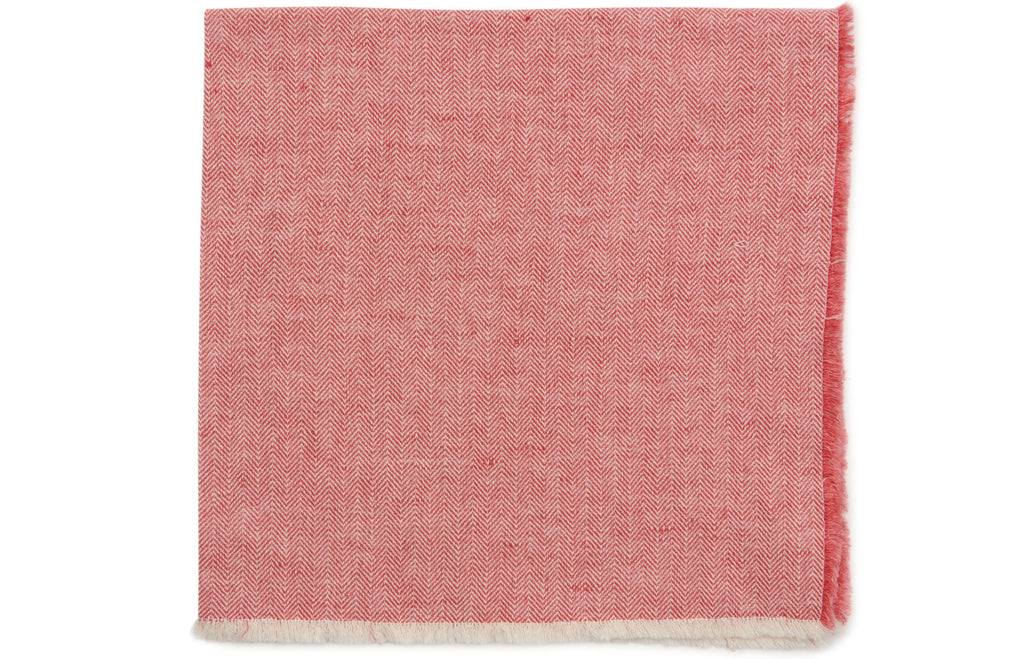 Herringbone Fringe Napkin in Rose