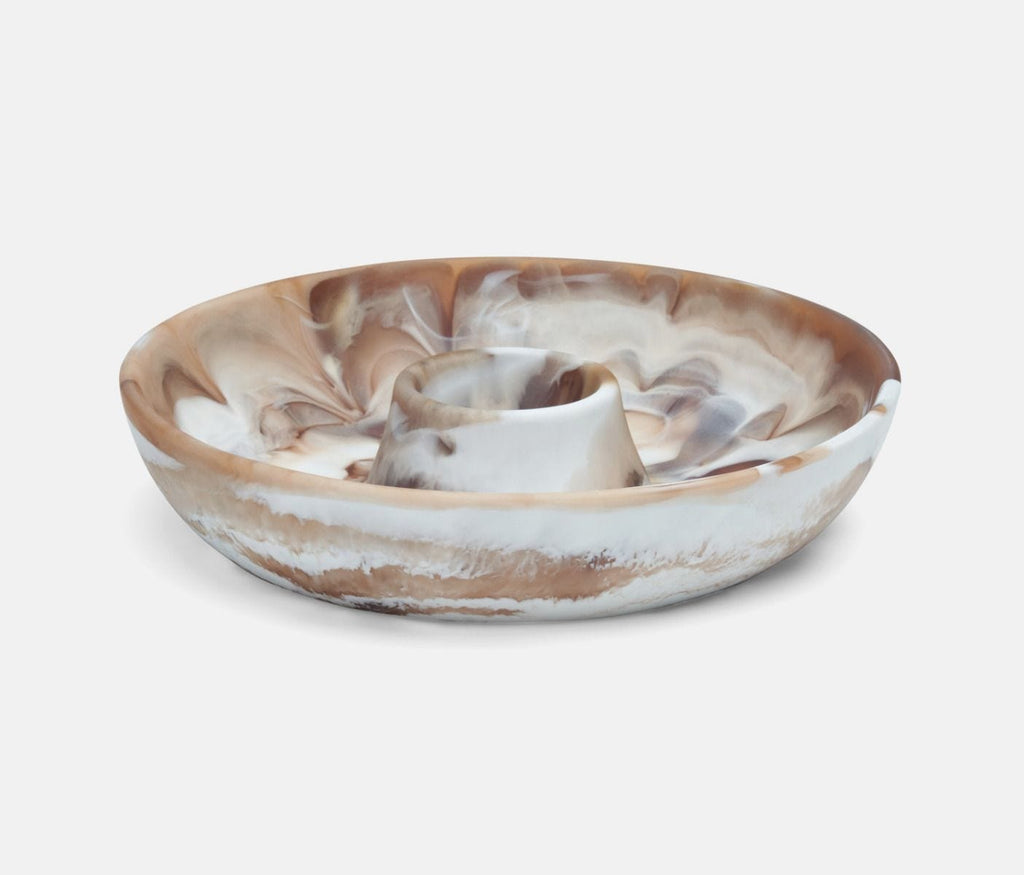 Hugo Brown Swirled Chip and Dip Bowl