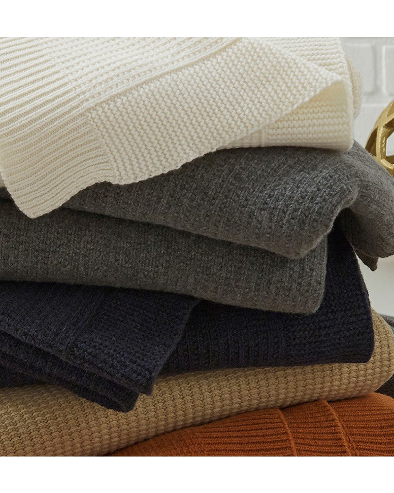 Sferra Pettra Lambswool Knit Throw & Decorative Pillow