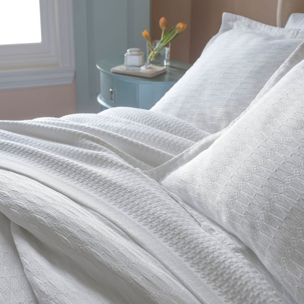 Peacock Alley Newport Cotton Textural Woven Blanket