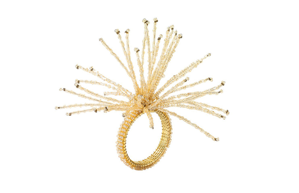 Spider Beaded Burst Napkin Ring in Champagne