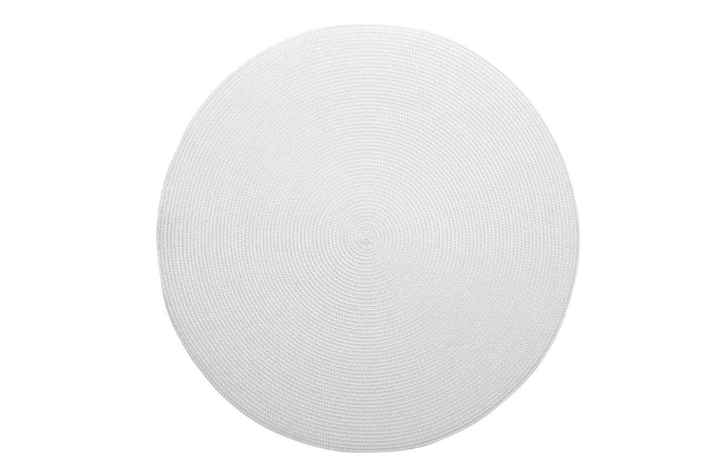 "White Linen Braided 15"" Round Placemat"