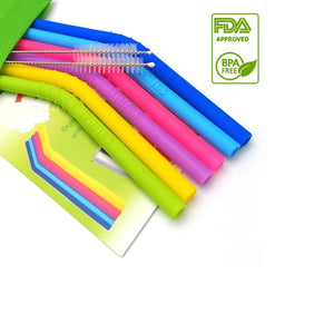 Reusable Silicone Drink Straws (Set 6 pcs)