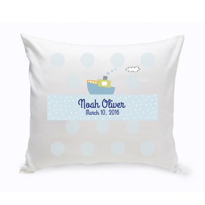 Personalized Boys Boat Baby Nursery Throw Pillow - Xtreme Designs