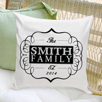 Personalized Family Throw Pillow - Classic Black - Xtreme Designs