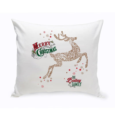 Personalized Vintage Deer Holiday Throw Pillow - Xtreme Designs