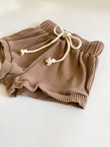 Ribbed Cotton Shorts - Cappuccino