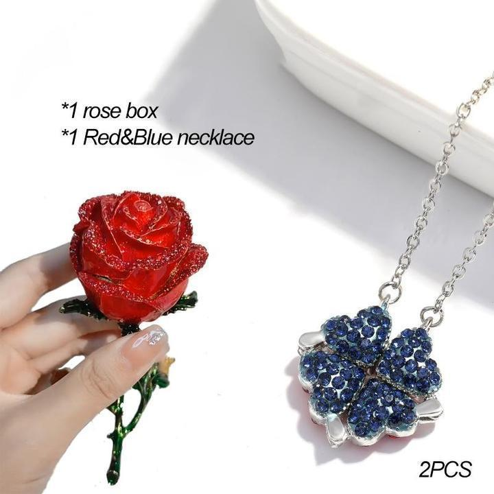 Magic Lucky Four Leaf Clover Necklace(Rose Gift Box Included)