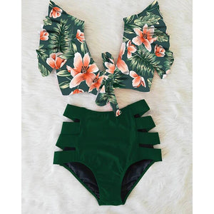 Double Shoulder Ruffle Bikini Set